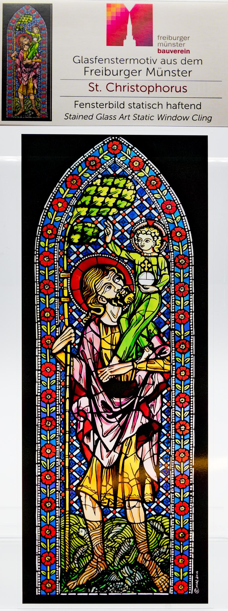 Münsterladen Freiburg Glasmalerei Fensterfolie St. Christopherus