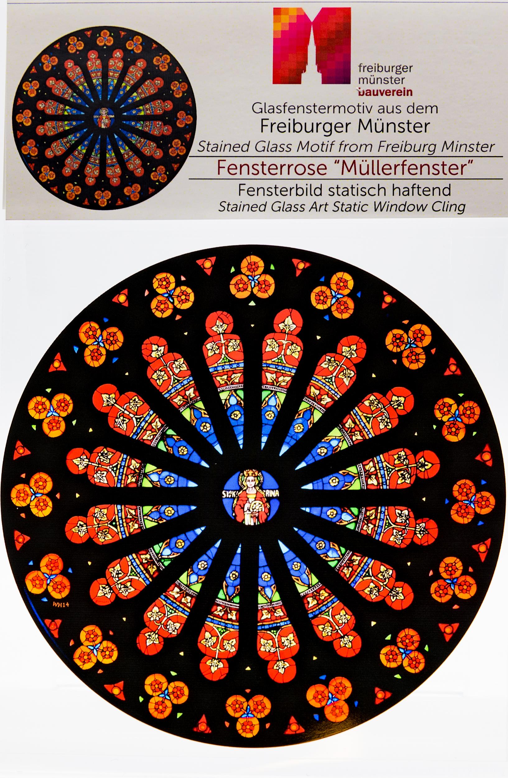 Münsterladen Freiburg Glasmalerei Fensterfolie Rosette