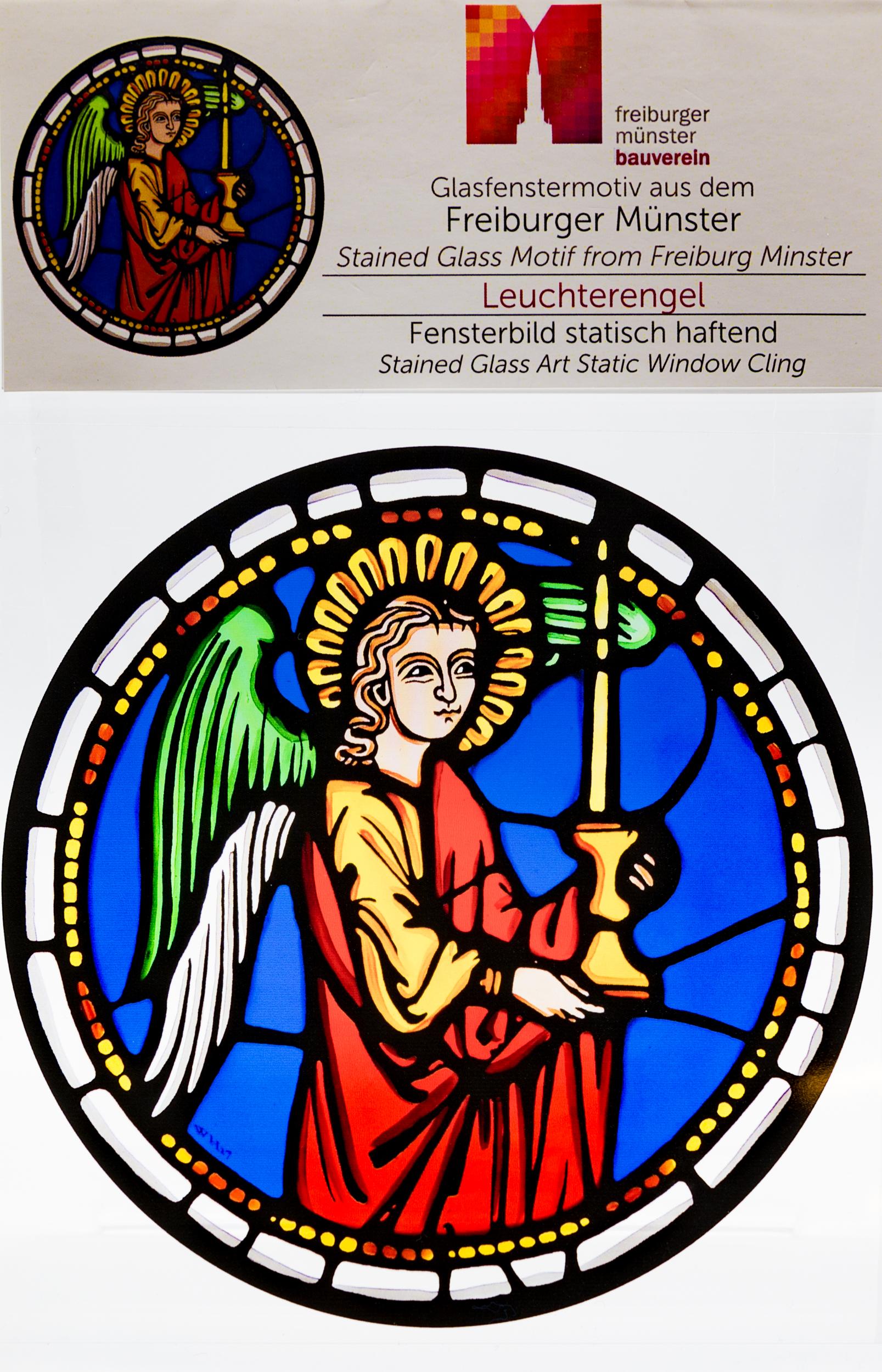 Münsterladen Freiburg Glasmalerei Fensterfolie Leuchterengel