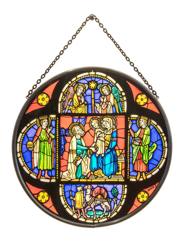 Münsterladen Freiburg Glasmalerei Fensterbild rund Kirchenfenstermotiv Drei Könige