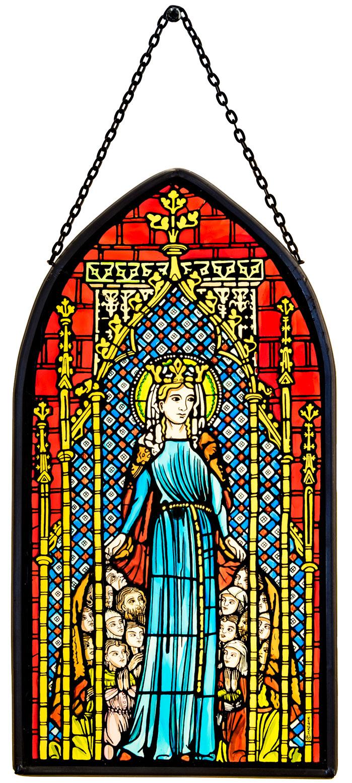 Münsterladen Freiburg Glasmalerei Fensterbild groß Schutzmantelmadonna