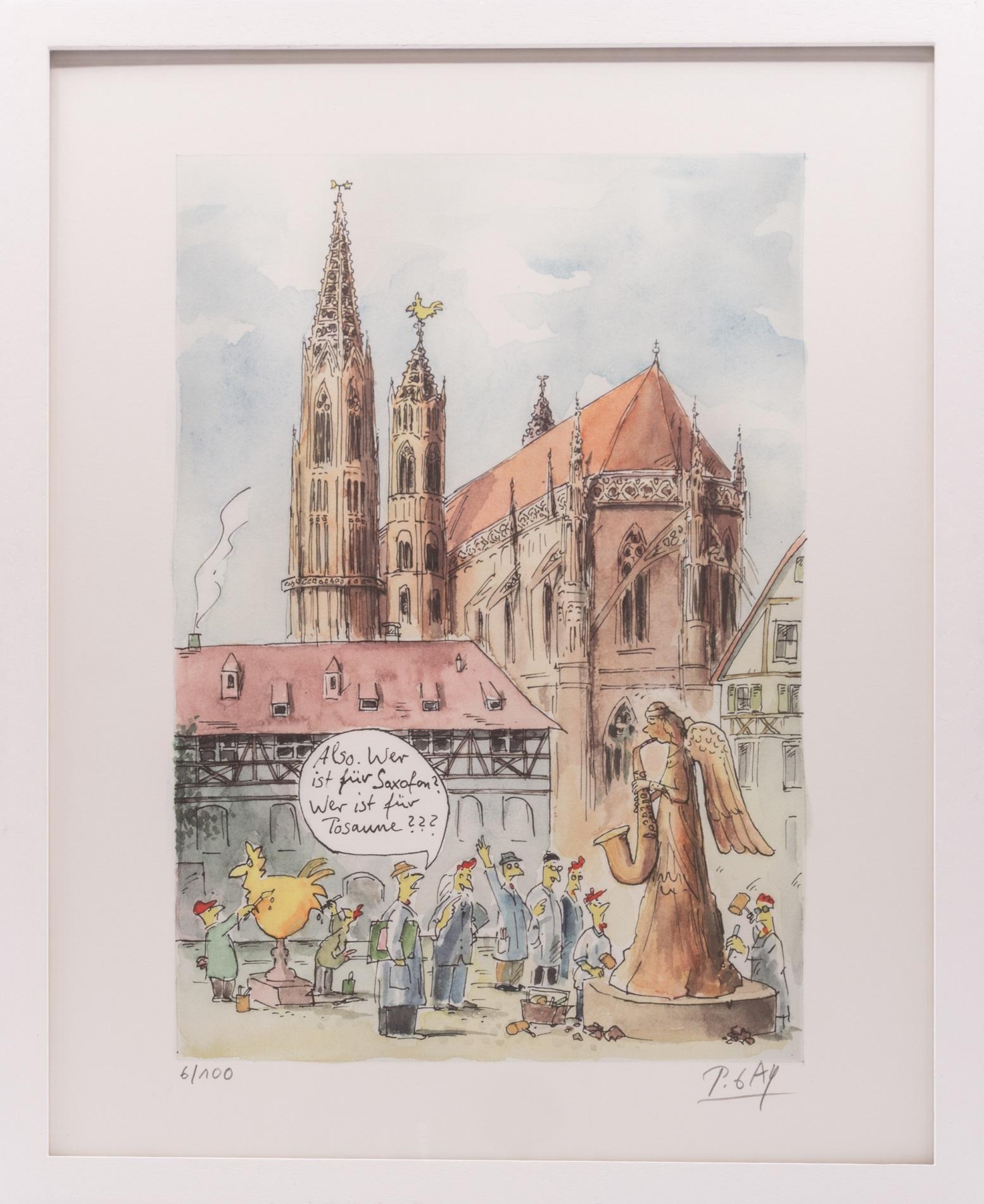 Münsterladen Freiburg Kunstdruck Peter Gaymann Alte Münsterbauhütte