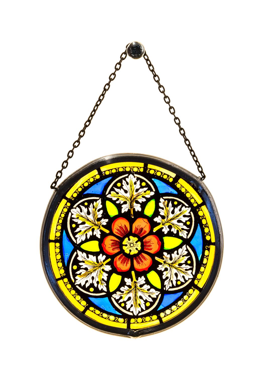 Münsterladen Freiburg Glasmalerei Fensterbild klein Blütenmotiv
