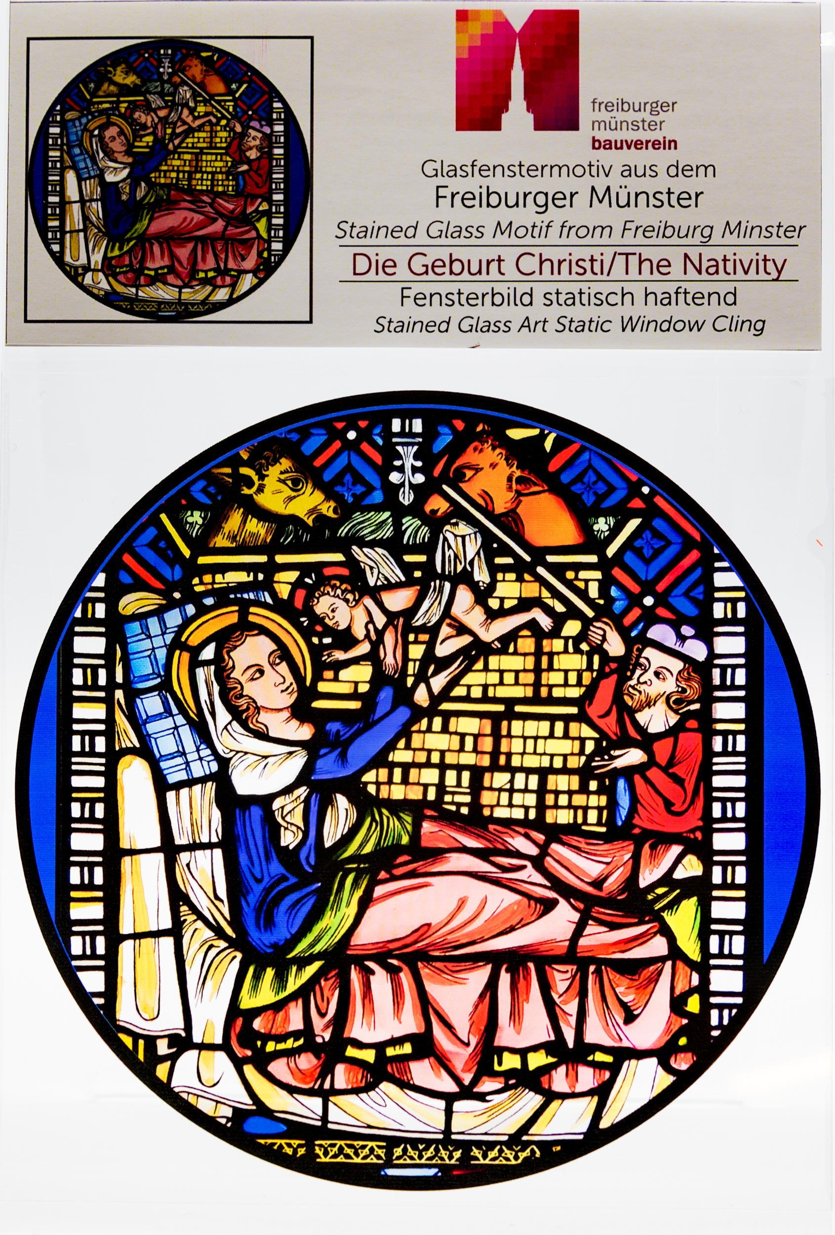 Münsterladen Freiburg Glasmalerei Fensterfolie Geburt Christi