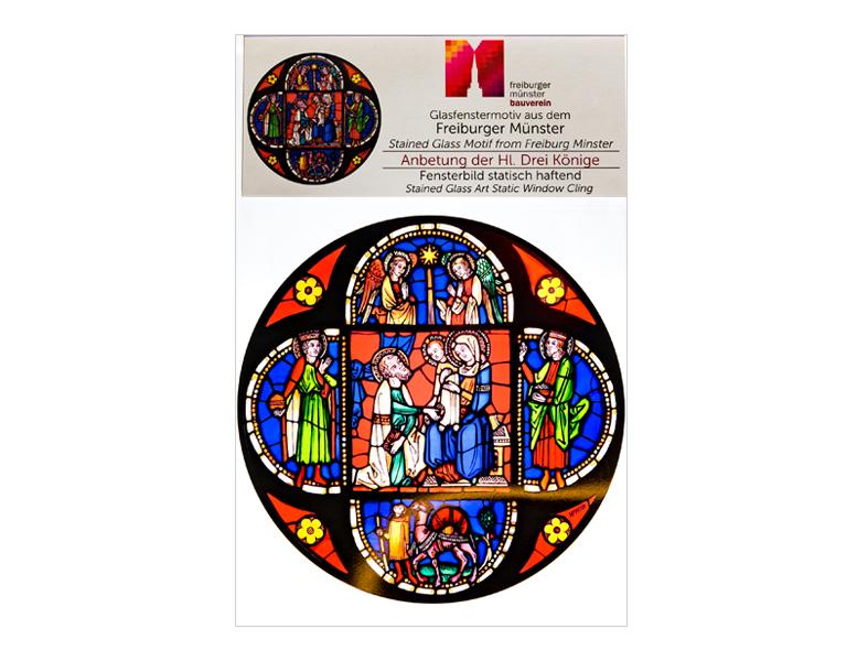 Münsterladen Freiburg Glasmalerei  Fensterfolie KirchenfenstermotivDrei Könige