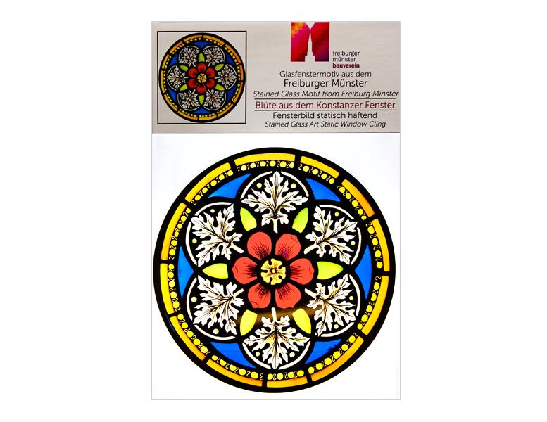 Münsterladen Freiburg Glasmalerei Fensterfolie Kirchenfenstermotiv Blüte