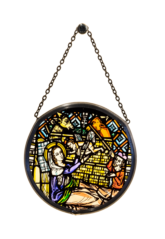 Münsterladen Freiburg Glasmalerei Fensterbild klein Christi Geburt