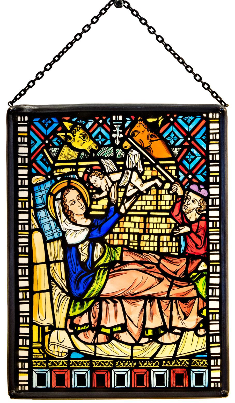 Münster Laden Freiburg Glasmalerei Fensterbild groß  Christi Geburt