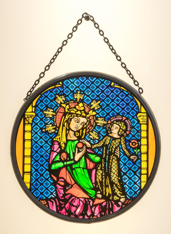 Münsterladen Freiburg Glasmalerei Fensterbild rund Thronende Maria