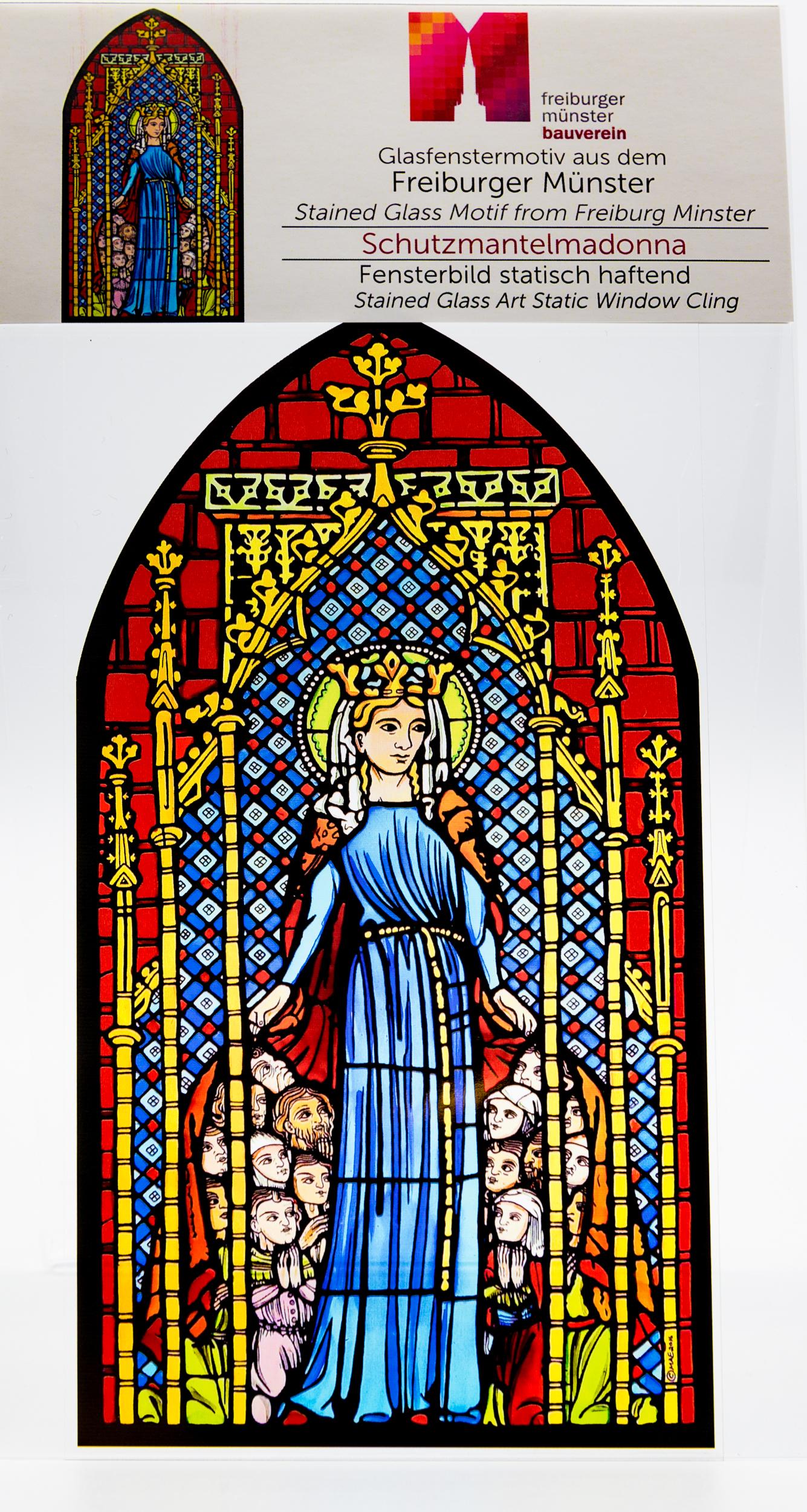 Münsterladen Freiburg Glasmalerei Fensterfolie Schutzmantelmadonna