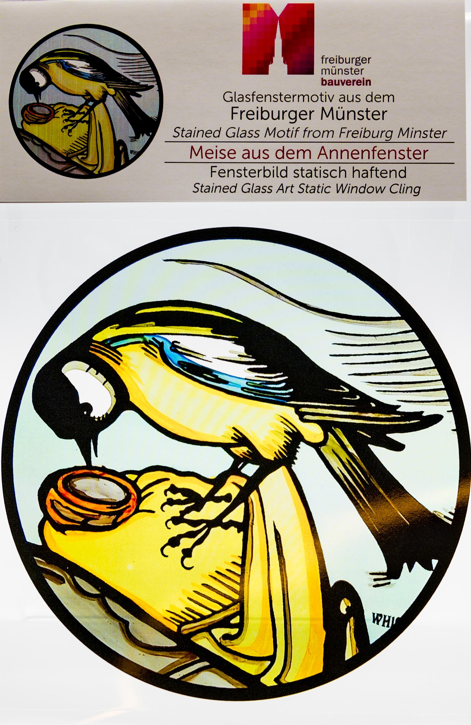 Münsterladen Freiburg Glasmalerei Fensterfolie Meise