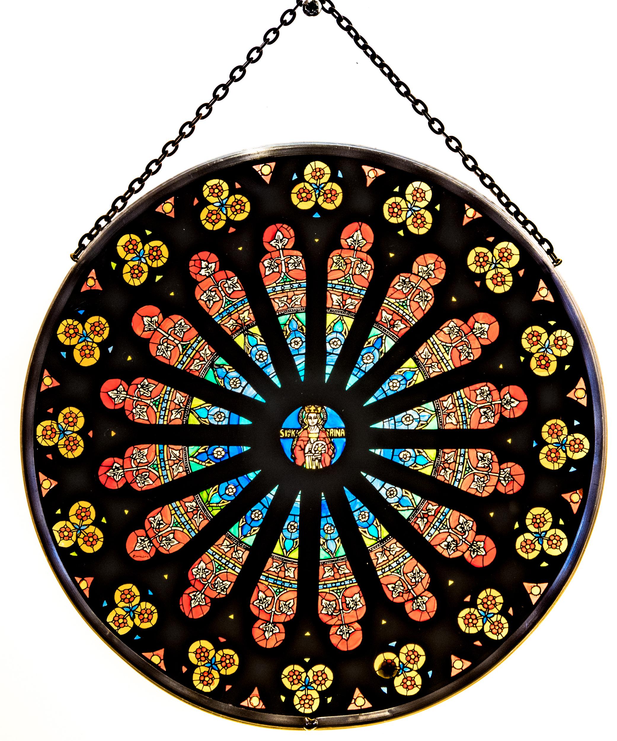 Fensterbild Kirchenfenstermotiv Rosette